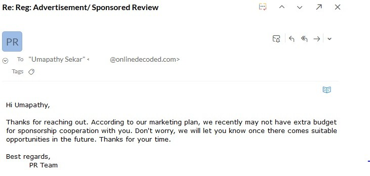 How to get Sponsored Reviews - rejection email