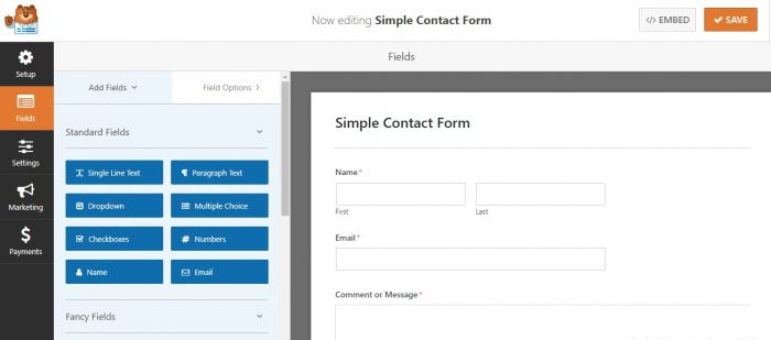 Contact form created using WPForms