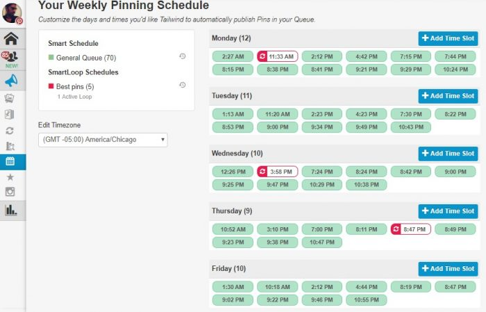 Pinning schedule - Tailwind review